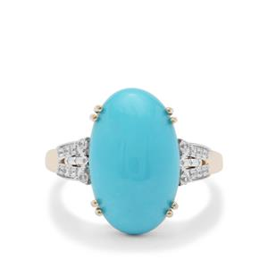 Sleeping Beauty Turquoise Ring with White Zircon in 9K Gold 6.25cts