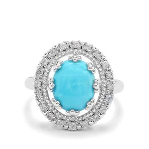 Sleeping Beauty Turquoise, Sky Blue Topaz & White Zircon Sterling Silver Ring ATGW 3.26cts