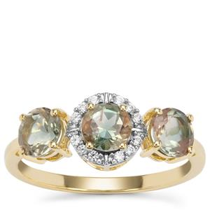 Peacock Parti Oregon Sunstone Ring with White Zircon in 9K Gold 1.54cts