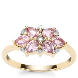 Sakaraha Pink Sapphire Ring with Diamond in 9K Gold 1.23cts