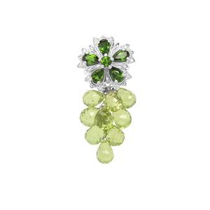 Chrome Diopside, Changbai Peridot Pendant with White Zircon in Sterling Silver 21.75cts