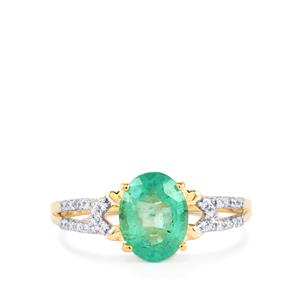 Ethiopian Emerald Ring with Diamond in 18k Gold 1.68cts