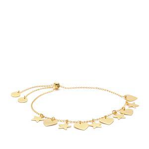 "10"" Midas Altro Diamond Cut Star - Heart Slider Bracelet 3.68g"