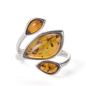 Baltic Cognac Amber Ring in Sterling Silver