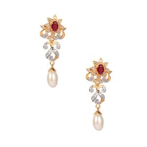 Montepuez Ruby, Kaori Cultured Pearl & Diamond Midas Earrings