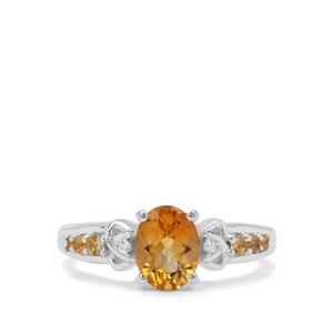 Diamantina Citrine & White Zircon Sterling Silver Ring ATGW 1.26cts