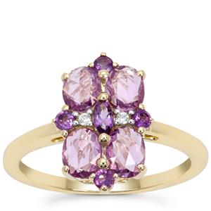 Rose Cut Natural Purple Sapphire, Amethyst Ring with White Zircon in 9K Gold 1.44cts