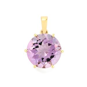 6.76ct Rose De France Amethyst 10K Gold Pendant