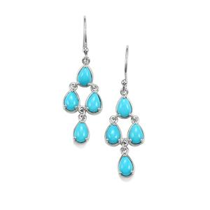 Sleeping Beauty Turquoise Earrings in Platinum Plated Sterling Silver 2.84cts