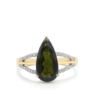 Green Tourmaline Ring with Diamond in 18K Gold 2.65cts