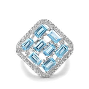 2.86ct Swiss Blue Topaz Sterling Silver Ring