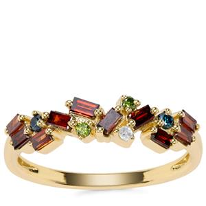 Multi-Colour Diamond Ring in 9K Gold 0.50ct
