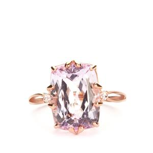 Minas Gerais Kunzite Ring with White Zircon in 9K Rose Gold 8.80cts