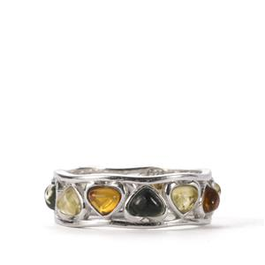 Baltic Cognac, Green Amber Ring with Baltic Champagne Amber in Sterling Silver (4mm)