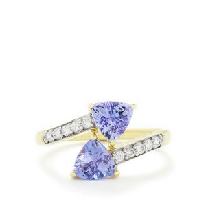 AA Tanzanite & White Zircon 9K Gold Ring ATGW 1.71cts