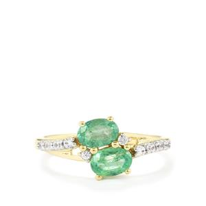 Zambian Emerald Ring with White Zircon in 10k Gold 1.12cts