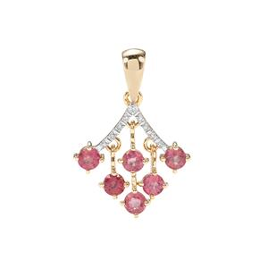 Padparadscha Sapphire Pendant with Diamond in 10K Gold 1.50cts