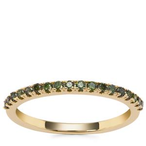 Green Diamond Ring in 9K Gold 0.28ct