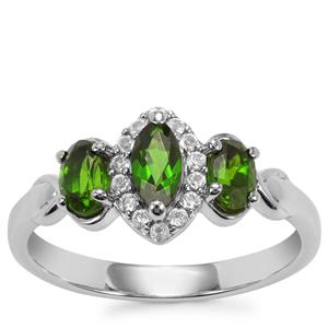 Chrome Diopside Ring with White Topaz in Sterling Silver 0.96ct