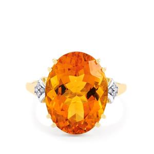 Diamantina Citrine Ring with Diamond in 9K Gold 8.58cts