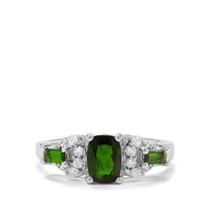 Chrome Diopside & White Zircon Sterling Silver Ring ATGW 1.25cts