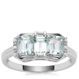 Aquaiba™ Beryl Ring with White Zircon in 9K White Gold 1.28cts