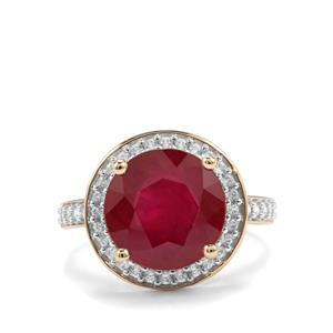 Malagasy Ruby Ring with White Zircon in 9K Gold 6.94cts (F)