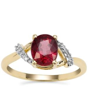 Malawi Garnet Ring with White Zircon in 9K Gold 1.88cts