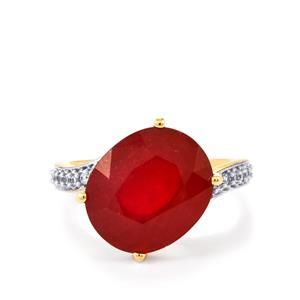 Malagasy Ruby Ring with White Zircon in 10k Gold 14.82cts (F)
