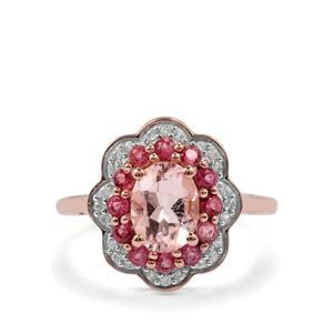 Alto Ligonha Morganite, Pink Tourmaline Ring with White Zircon in 9K Rose Gold 1.72cts