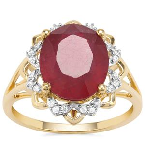 Malagasy Ruby Ring with White Zircon in 9K Gold 6.33cts
