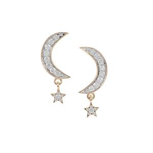 1/2ct Diamond 9K Gold Star & Moon Earrings
