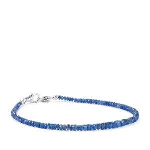 Burmese Blue Sapphire Graduated Bead Bracelet in Sterling Silver 22cts