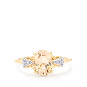 Zambezia Morganite Ring with Diamond in 10k Gold 1.40cts