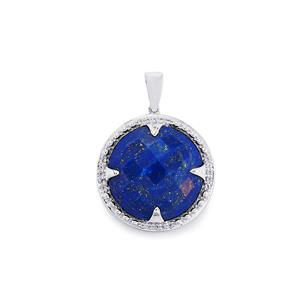 Sar-i-Sang Lapis Lazuli Pendant with White Topaz in Sterling Silver 19.72cts