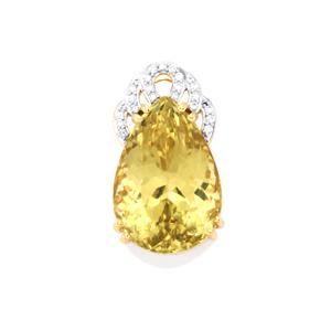 Canary Kunzite Pendant with Diamond in 18k Gold 20.09cts
