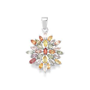 3.40ct Rainbow Sapphire Sterling Silver Pendant