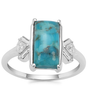 Bonita Blue Turquoise Ring with White Zircon in Sterling Silver 2.69cts