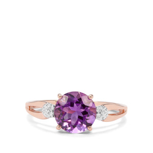 Moroccan Amethyst & Diamond 9K Rose Gold Ring ATGW 1.88cts
