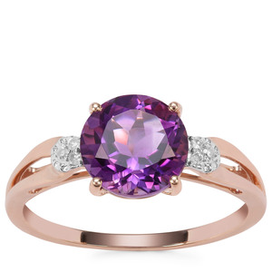 Moroccan Amethyst Ring with Diamond in 9K Rose Gold 1.88cts