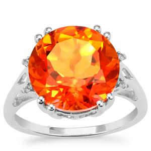 Padparadscha Quartz Ring with White Topaz in Sterling Silver 7.42cts