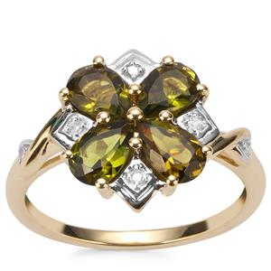 Chrome Tourmaline Ring with Diamond in 10K Gold 1.54cts