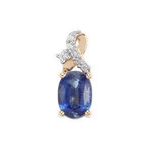 Daha Kyanite Pendant with White Zircon in 9K Gold 1.06cts