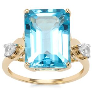 Swiss Blue Topaz Ring with White Zircon in 10K Gold 9.70cts