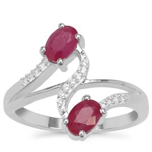 John Saul Ruby Ring with White Zircon in Sterling Silver 1.45cts