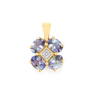 Bi Color Tanzanite Pendant with Diamond in 10k Gold 2.97cts