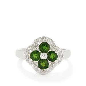 Chrome Diopside & White Topaz Sterling Silver Ring ATGW 1.21cts