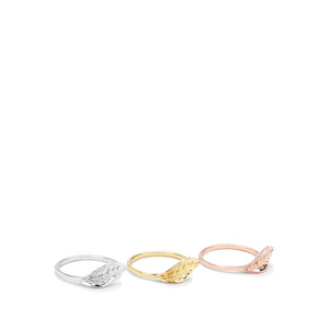 Set of 3 Rings in Three Tone Gold Plated Sterling Silver