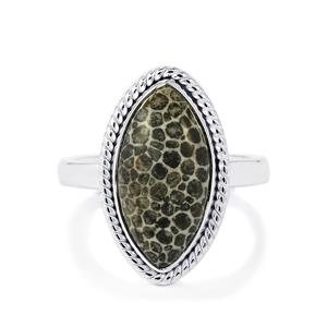 Fossil Black Coral Ring in Sterling Silver 6.42cts