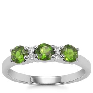 Chrome Diopside Ring with White Topaz in Sterling Silver 0.92ct